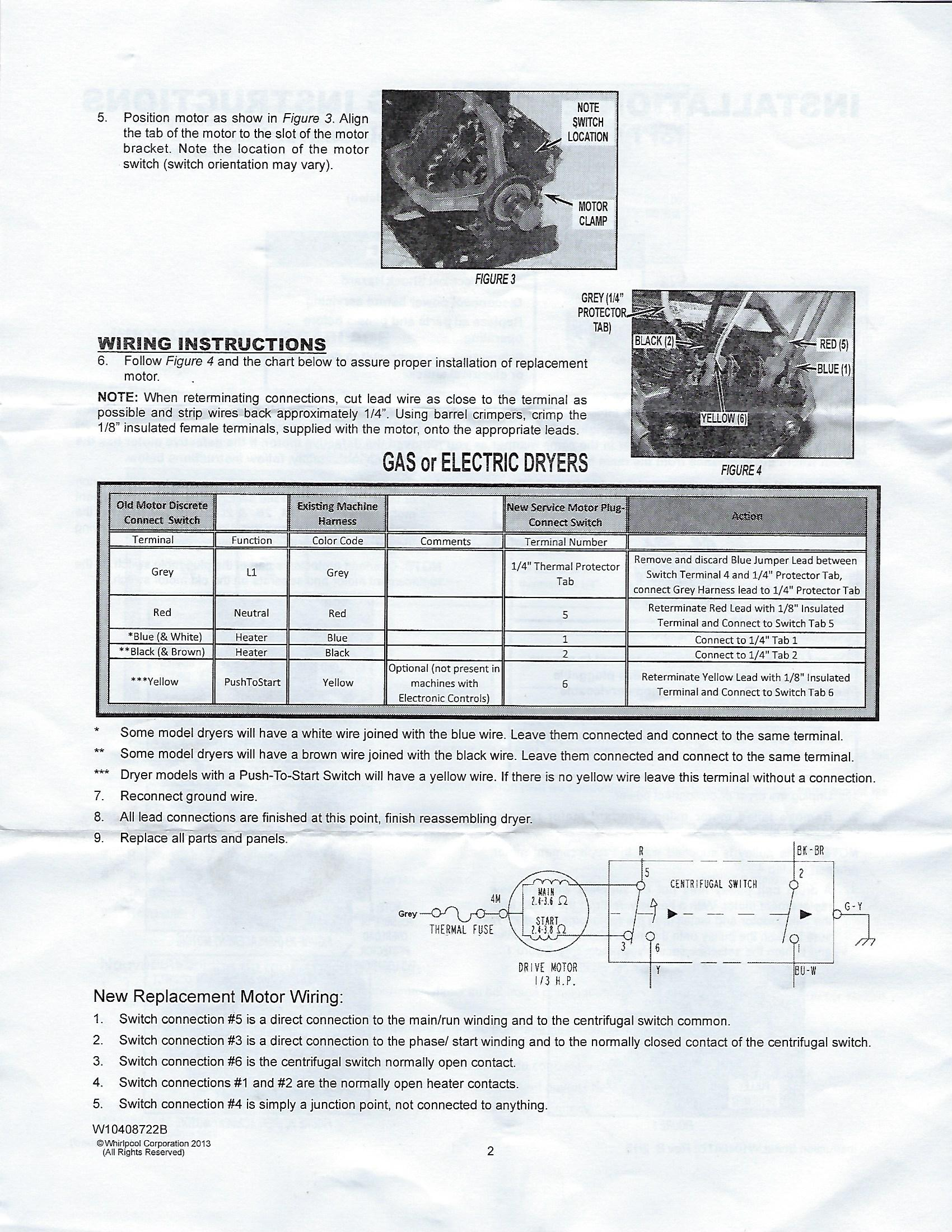 Appliance Motor Wiring Diagram Best Secret Whirlpool Dryer Colored I Purchased A Replacement W10410999 For My Maytag Sears Diagrams Electric Range